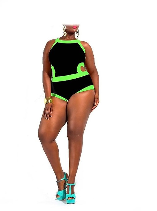 Plus Size Colorblock One Piece Swimsuit
